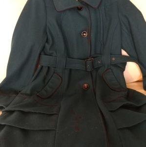 Teal Tiered Skirted Steve Madden Wool Coat